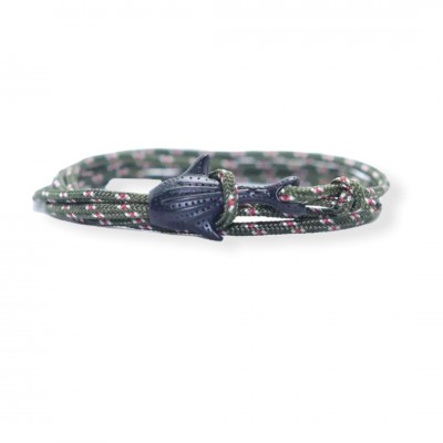 Groene knoop armband met haaiensluiting zwart
