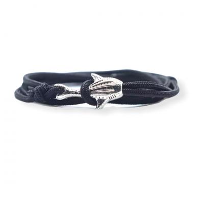 Zwarte knoop armband met haaiensluiting zilverkleurig