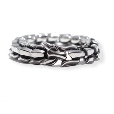 Zilverkleurige metalen schakelarmband Draak