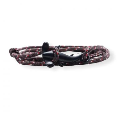 Zwart gemeleerde knoop armband met hamerhaai sluiting zwart
