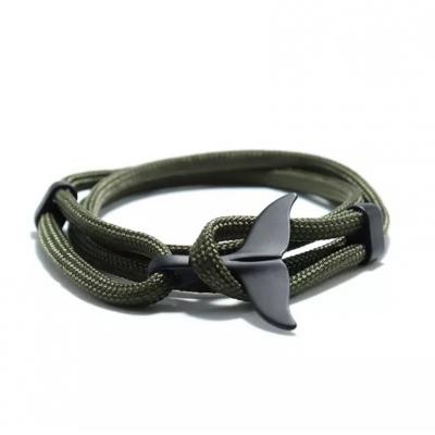 Groene knoop armband met haaienvinsluiting zwart