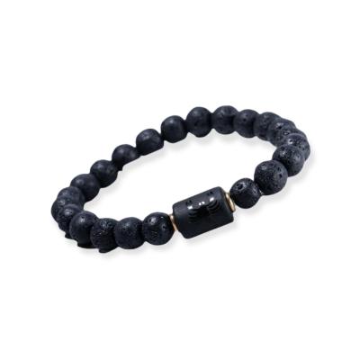 Zwarte kralen armband met bedel sterrenbeeld Schorpioen