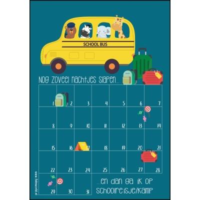 Aftelkalender A4 schoolreisje/kamp