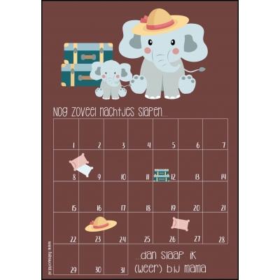 Aftelkalender A4 bij mama slapen