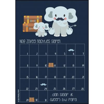 Aftelkalender A4 bij papa slapen