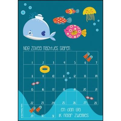 Aftelkalender A4 zwemles
