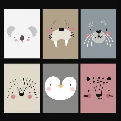 Ansichtkaarten set animal heads