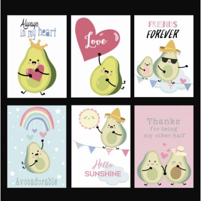 Ansichtkaarten set avocado