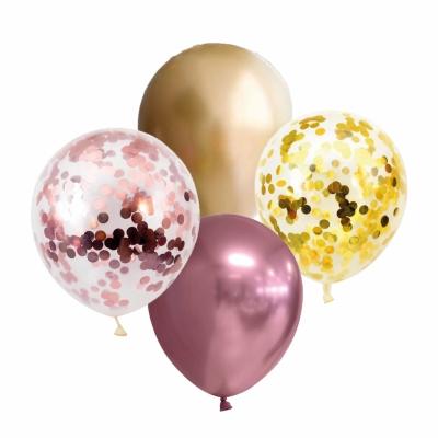 Ballonnen confetti rose/goud