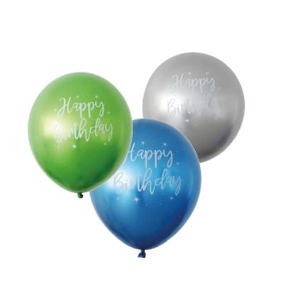 Ballonnen happy birthday metallic groen/blauw/zilver