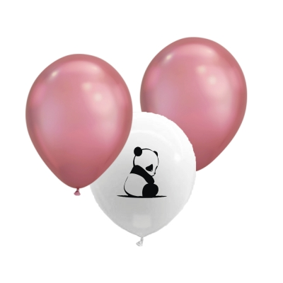 Ballonnen babypanda metallic roze