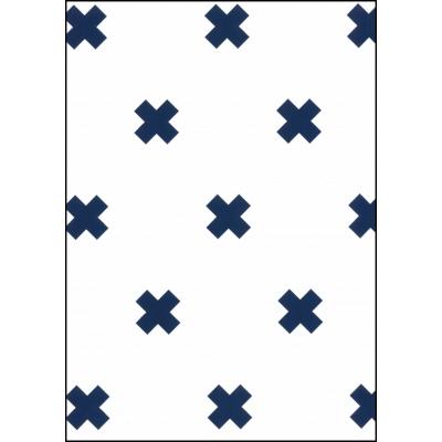 Fabulous World Behang Cross wit en donker blauw 67104-5