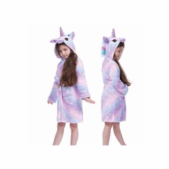 Badjas unicorn rainbow paars