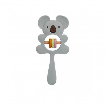Siliconen rammelaar koala grijs