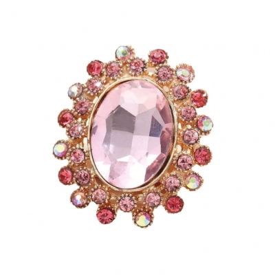 Grote strass ring roze