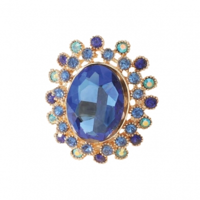 Grote strass ring blauw