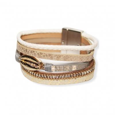 Brede brons gouden armband met schelp