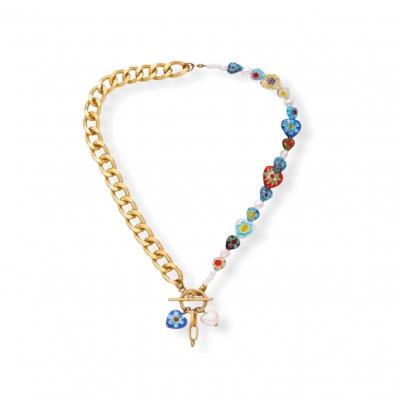 A-symmetrische gouden ketting met millefiori glas kralen