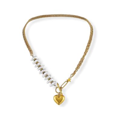 A-symmetrische gouden ketting met parels