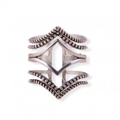 Brede zilveren lijnen ring