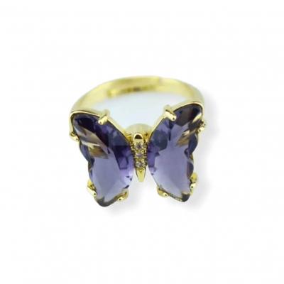 Fidget vlinder ring  paars