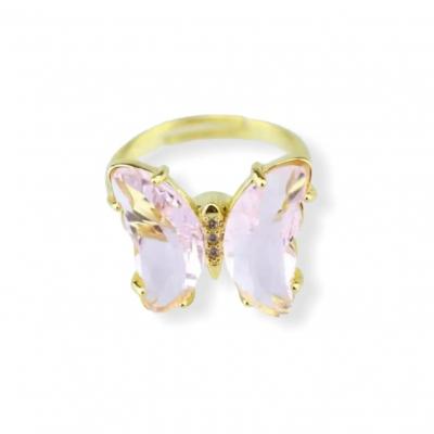 Fidget vlinder ring licht roze