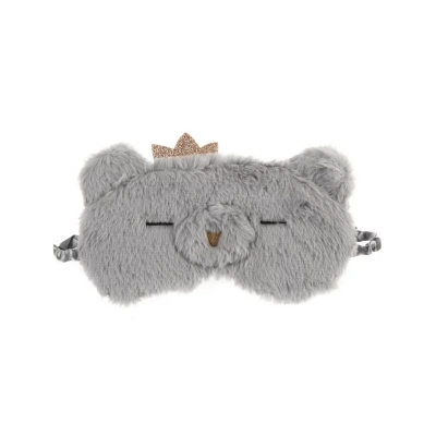 Slaapmasker beer kroontje grijs