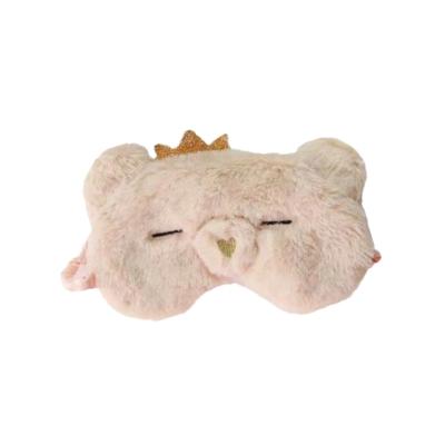 Slaapmasker beer kroontje beige