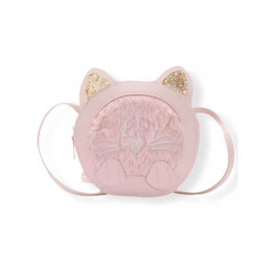 Klein fluffy katten tasje roze