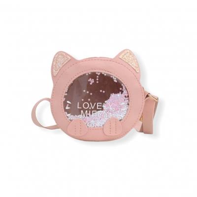 Klein glitter katten tasje roze